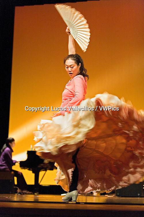 Model relased photo.Dancer Kayoko Nakata doing his last coached before dancing in Morioka theatre.Morioka,Iwate prefecture,Japan.