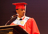 Valedictorian Gabriel Brown speaks to the class of 2010 during the Trotwood-Madison High School Commencement at the Victoria Theatre in downtown Dayton, Tuesday, June 1, 2010.