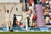 Wicket - Sam Curran of England celebrates taking the final India wicket to win the series during the 4th day of the 4th SpecSavers International Test Match 2018 match between England and India at the Ageas Bowl, Southampton, United Kingdom on 2 September 2018.
