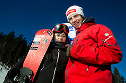 Gloria Kotnik, Zan Kosir during training of Snowboarding Team Slovenia prior to the 2015 FIS Freestyle Ski and Snowboard World Championships in Kreischberg (AUT) on January 13, 2015 in Rogla, Slovenia. Photo by Vid Ponikvar / Sportida