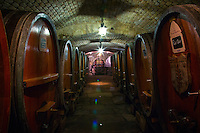 Strasbourg, France - November 14, 2014: The centuries-old cellar at Cave Historique des Hospices de Strasbourg, where new vintages from regional winemakers age next to the world's oldest wine, an Alsatian white from 1472. The cellar lies underneath the cities municipal hospital, which benefits from wine sales at the adjacent boutique.  CREDIT: Chris Carmichael for the New York Times