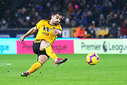 Wolverhampton Wanderers forward Diogo Jota (18) shoots at goal during the Premier League match between Wolverhampton Wanderers and Bournemouth at Molineux, Wolverhampton, England on 15 December 2018.