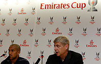 Photo: Richard Lane Photography. Emirates Cup Press Conference. 01/08/2008. Arsenal manager, Arsene Wenger (rt) and player, Gael Clichy.