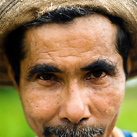 Farmer in the town of Rincon Santo in the region of Ocu, Province of Herrera, Republic of Panama.  Ocu is an area of the country well known for the fabrication of typical Panamanian dress.