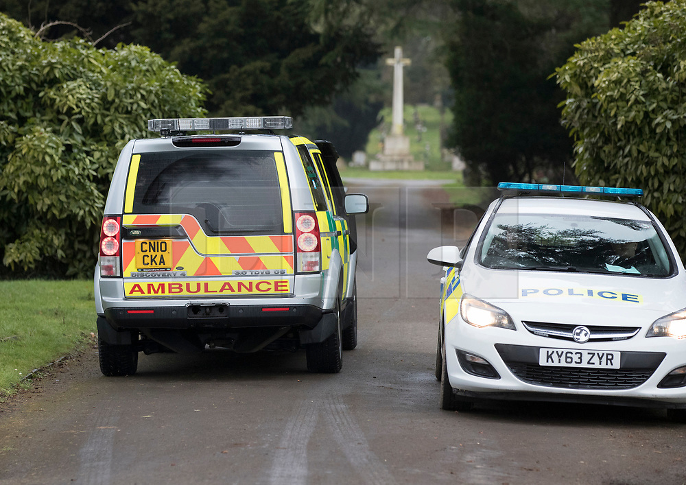 © Licensed to London News Pictures. 09/03/2018. Salisbury, UK. An ambulance Land Rover arrives at Salisbury cemetery where it is being reported that there is activity at the grave Liudmila Skripal  - wife of Former Russian spy Sergei Skripal. Mr Skripal  and his daughter Yulia are critically ill after being poisoned with nerve agent. The couple where found unconscious on bench in Salisbury shopping centre. A policeman who went to their aid is recovering in hospital. Photo credit: Peter Macdiarmid/LNP