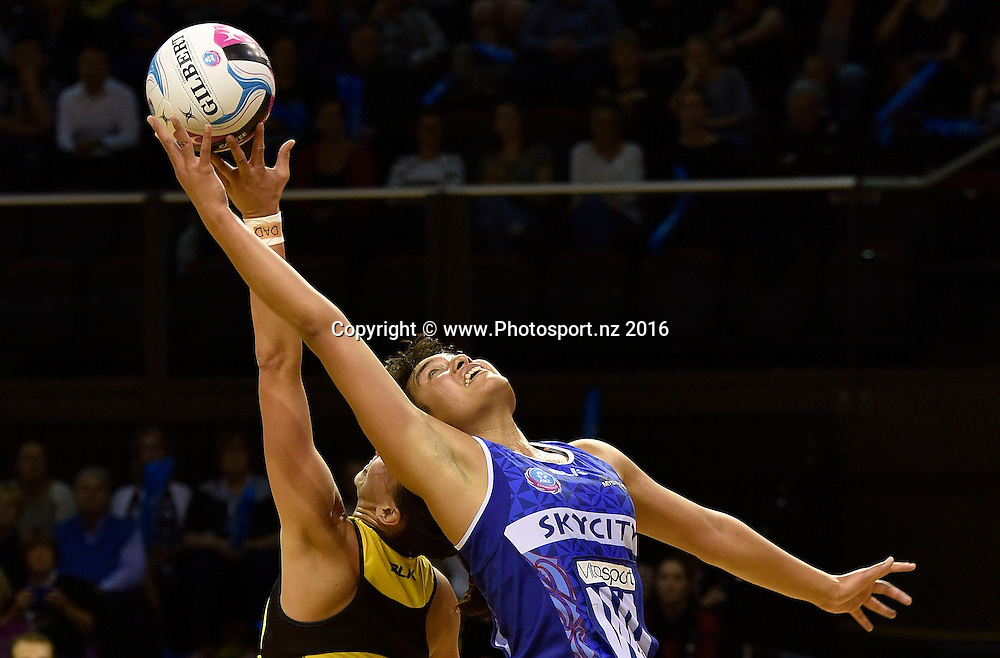 Mystics' Fa'amu Loane (R jumps for a pass with Pulse's Elias Scheres during the ANZ Champs - Pulse v Mystics netball match at TSB Arena in Wellington on Monday the 18 April 2016. Copyright Photo by Marty Melville / www.Photosport.nz