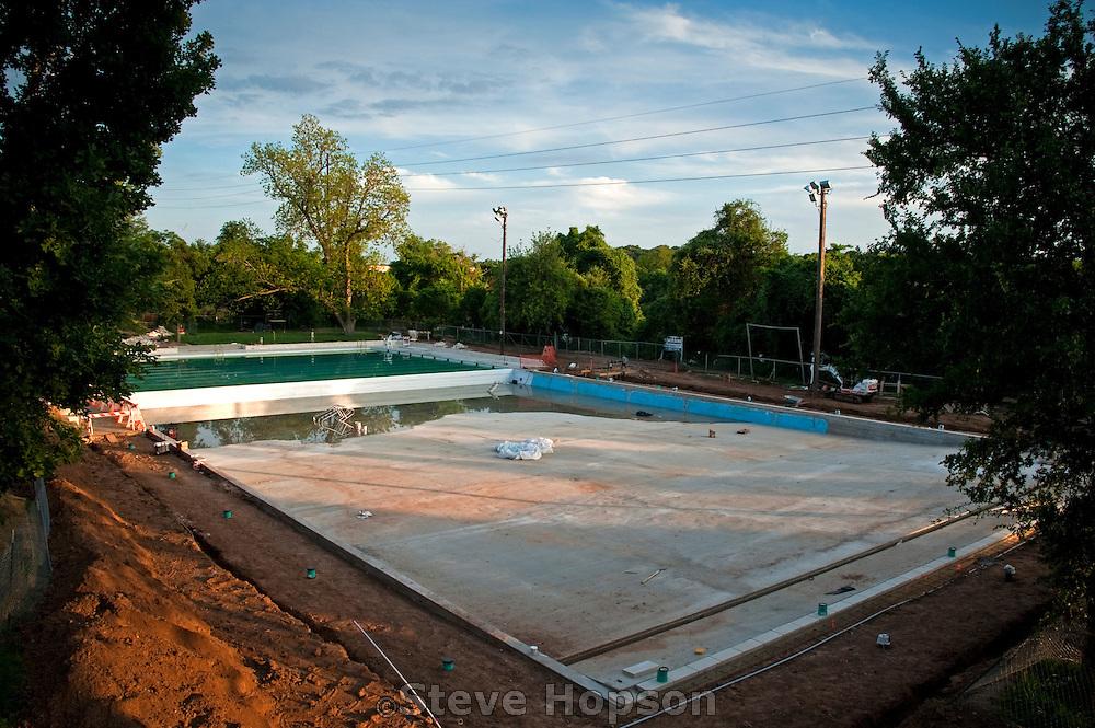 Deep Eddy Pool being rebuilt,April 7, 2012, Austin, Texas.