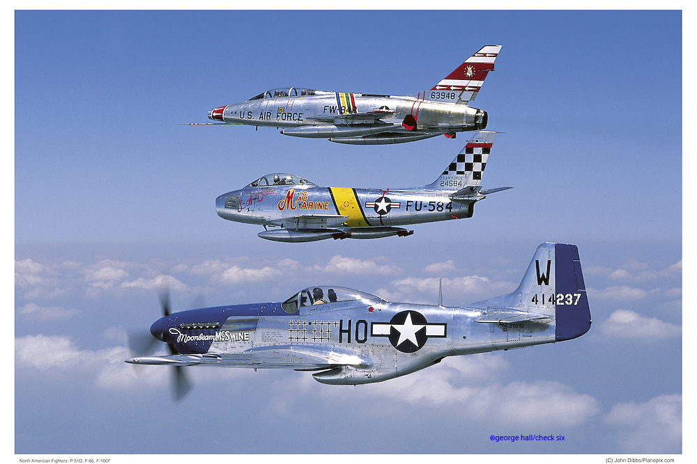 F-100, F-86, and P-51 in formation, air-to-air