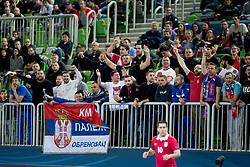 Supporters of team Serbia during futsal match between Serbia and Italy at Day 3 of UEFA Futsal EURO 2018, on February 1, 2018 in Arena Stozice, Ljubljana, Slovenia. Photo by Urban Urbanc / Sportida