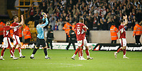 Photo: Steve Bond/Sportsbeat Images.<br /> Wolverhampton Wanderers v Bristol City. Coca Cola Championship. 03/11/2007.Adriano Basso & Marvin Elliott join in applauding the travelling fans