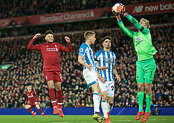 LIVERPOOL, ENGLAND - Friday, April 26, 2019: Liverpool's Alex Oxlade-Chamberlain looks dejected after missing a chance during the FA Premier League match between Liverpool FC and Huddersfield Town AFC at Anfield. (Pic by David Rawcliffe/Propaganda)