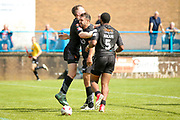 Bradford Bulls scrum half Cory Aston (41) breaks free to score the fourth try and celebrates during the Kingstone Press Championship match between Oldham RLFC and Bradford Bulls at Bower Fold, Oldham, United Kingdom on 13 August 2017. Photo by Simon Davies.