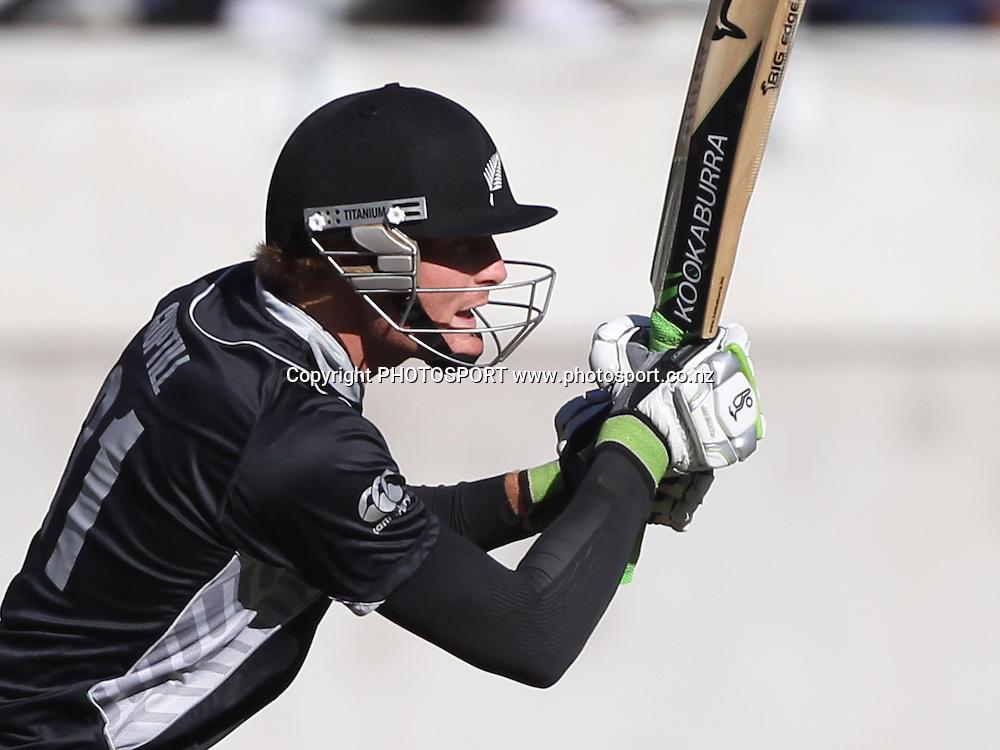 New Zealand opening batsman Martin Guptill batting during the 3rd ODI, Black Caps v Pakistan, One Day International Cricket. AMI Stadium, Christchurch, New Zealand. Saturday 29  January 2011. Photo: Andrew Cornaga/photosport.co.nz