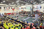 Robots compete as the crowd watches during the 2016 First Mid-Atlantic First Robotics Competition at Hatboro Horsham High School Saturday March 5, 2016 in Horsham, Pennsylvania. (Photo by William Thomas Cain)