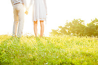 Midsection rear view of couple holding hands while standing on grass against sky