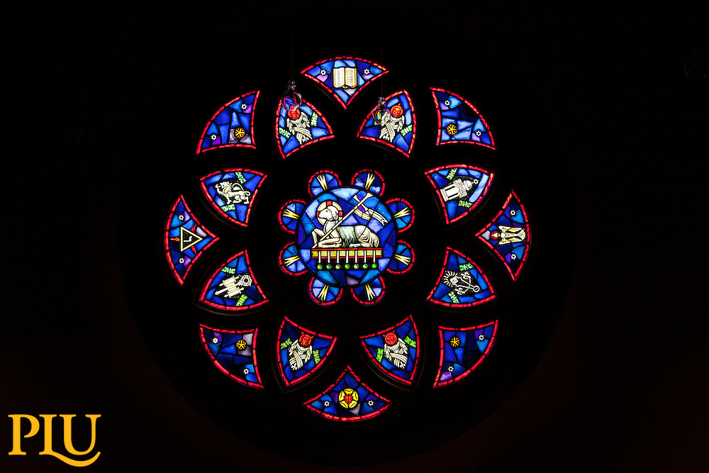 Rose Window in the Ness Chapel of the Karen Hille Phillips Center PLU on Tuesday, Sept. 17, 2013. (Photo/John Froschauer)