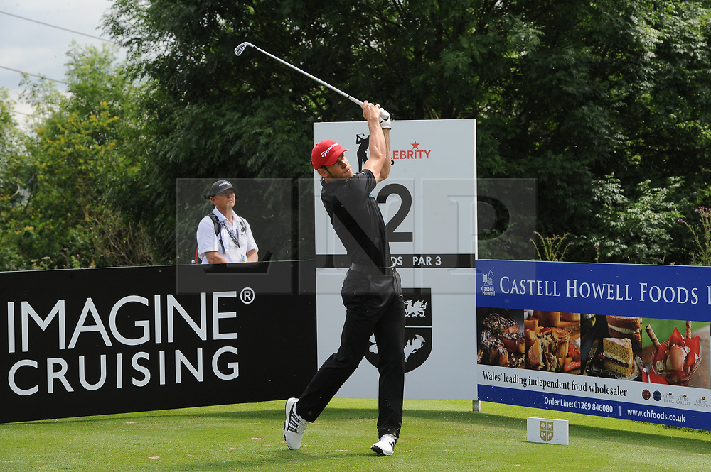 © Licensed to London News Pictures. 01/07/2017. London, UK, Footballer Gareth Bale tee's off from the 2nd  during The 2017 Celebrity Cup golf tournament at the Celtic Manor Resort, Newport, South Wales. Photo credit: Jeff Thomas/LNP