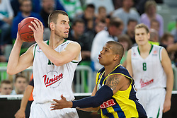 Dylan George Page of Union Olimpija and Mike Batiste of Fenerbahce Ulker during basketball match between KK Union Olimpija and Fenerbahce Ulker Istanbul (TUR)  in 2nd Round of Regular season of Euroleague 2012/13 on October 19, 2012 in Arena Stozice, Ljubljana, Slovenia. (Photo By Vid Ponikvar / Sportida)
