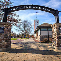Old Plank Road Trail and Frankfort Grainery photo. Frankfort is a Southwest Chicago suburb and The Old Plank Road Trail is a 22 mile long public path and former railroad track train route that runs through Frankfort.