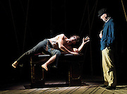 Heart of Darkness<br /> a chamber opera in one act <br /> by Tarik O'Regan <br /> liberetto by Tom Phillips<br /> based on the novel by Joseph Conrad <br /> at the Linbury Studio, Royal Opera House, London, Great Britain <br /> press photocall<br /> 31st October 2011 <br /> <br /> Morten Lassenius Kramp (as Kurtz)<br /> Alan Oke (as Marlow)<br /> and Company <br /> <br /> Photograph by Elliott Franks
