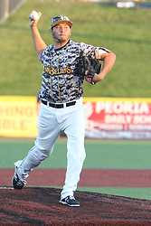 24 July 2015:  Pitcher Jake Negrete during a Frontier League Baseball game between the Gateway Grizzlies and the Normal CornBelters at Corn Crib Stadium on the campus of Heartland Community College in Normal Illinois