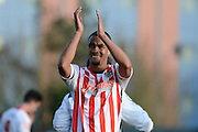 Stevenage striker and Goalscorer Byron Harrison during the Sky Bet League 2 match between Oxford United and Stevenage at the Kassam Stadium, Oxford, England on 25 March 2016. Photo by Alan Franklin.