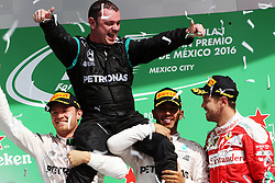 Formel 1: GP von Mexiko 2016 - Rennen in Mexiko-Stadt / 301016<br /> <br /> ***The podium (L to R): Nico Rosberg (GER) Mercedes AMG F1, second; Tony <br /> Walton (GBR) Mercedes AMG F1 Mechanic; Lewis Hamilton (GBR) Mercedes AMG F1, race winner; Sebastian Vettel (GER) Ferrari, third.<br /> 30.10.2016. Formula 1 World Championship, Rd 19, Mexican Grand Prix, Mexico City, Mexico, Race Day.<br /> Copyright: Photo4 / XPB Images / action press ***