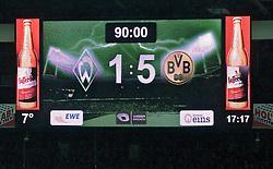 08.02.2014, Weserstadion, Bremen, GER, 1. FBL, SV Werder Bremen vs Borussia Dortmund, 20. Runde, im Bild die Anzeigetafel mit dem 1:5-Endstand // die Anzeigetafel mit dem 1:5-Endstand during the German Bundesliga 20th round match between SV Werder Bremen and Borussia Dortmund at the Weserstadion in Bremen, Germany on 2014/02/08. EXPA Pictures &copy; 2014, PhotoCredit: EXPA/ Andreas Gumz<br /> <br /> *****ATTENTION - OUT of GER*****
