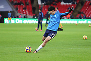 Son Heung-Min of Tottenham Hotspur (7) warming up during the Premier League match between Tottenham Hotspur and Brighton and Hove Albion at Wembley Stadium, London, England on 13 December 2017. Photo by Matthew Redman.