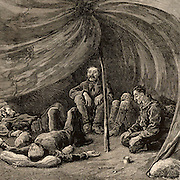 The scene inside Lieutenant Greely's tent when the relief party arrived on 22 June 1884. In 1881 Adolphus Washington Greely (1844-1935), American Arctic explorer, led the American expedition of 25 men to set up a meteorological station at Smith Sound as part of the first International Polar Year. In 1883 the relief boat failed to arrive and when the rescue party arrived in 1884 only six men survived. Engraving from 'The Graphic' (London, 1884). .