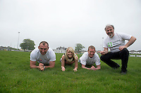 Five charities have issued a challenge to sporting enthusiasts in Galway to join them in a fundraising Guinness world record attempt &ndash; &lsquo;We&rsquo;re Planking it&rsquo;.<br /> The record which they are attempting to break is for the most people holding the abdominal plank position. It is being undertaken under the stewardship of local couple Sene and George Naoupu and a team of fitness instructors from their health and lifestyle business.<br /> The benefiting charities include Self Help Africa, the Irish Heart Foundation, COPE Galway, ACT for Meningitis and Special Olympics Connaught.<br /> Hurler Ollie Canning  and John Muldoon , Connacht Rugby Captain and  Maire Treasa Ni Dhubhghaill TG4 with Ronan Scully Self help Africa. Photo: andrew downes<br /> Photo:Andrew Downes