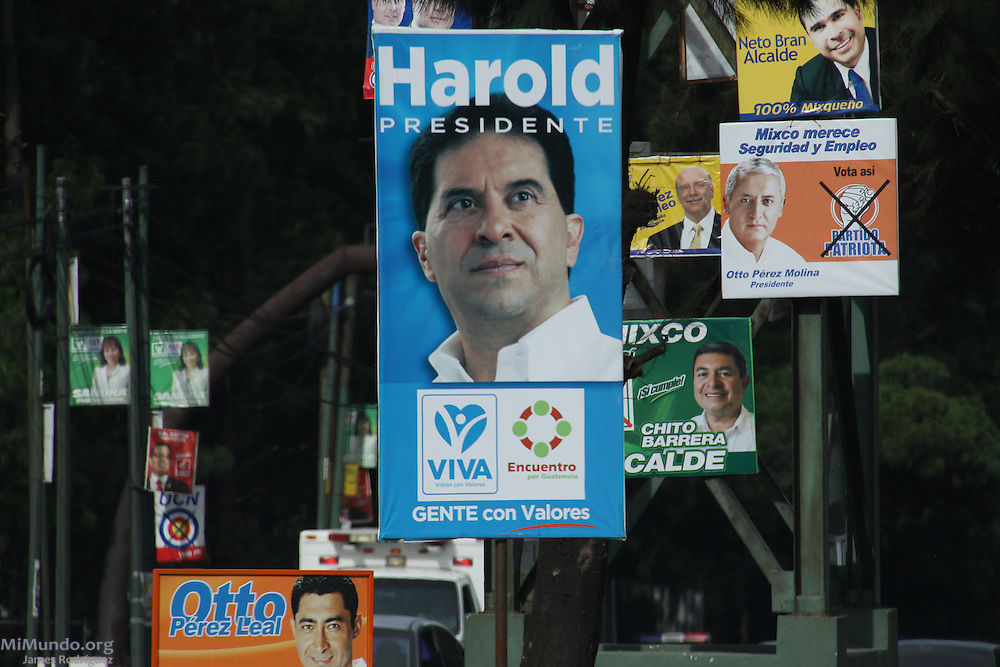 Political advertisements for numerous candidates in various posts during the 2011 general elections in Guatemala. Mixco, Guatemala, Guatemala. July 8, 2011.