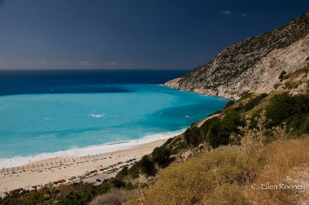 An aerial view of Myrtos Beach,<br />  Kefalonia, The Ionian Islands, Greece