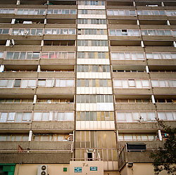 High rise flats on the Aylesbury Estate in South London where many families live below the poverty line. Aylesbury is the biggest British estae and one of the biggest estates in Europe, and has been notorious for many years. Part of it is now beeing demolished.