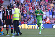 Sunderland AFC defender Younes Kaboul leaves the field following a red card during the Barclays Premier League match between Bournemouth and Sunderland at the Goldsands Stadium, Bournemouth, England on 19 September 2015. Photo by Mark Davies.