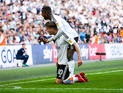 Free to use courtesy of Sky Bet. Tom Cairney of Fulham celebrates with Ryan Sessegnon after scoring a goal to make it 0-1 - Rogan/JMP - 26/05/2018 - FOOTBALL - Wembley Stadium - London, England - Aston Villa v Fulham - Sky Bet Championship Play-Off Final.