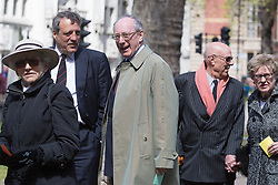 © Licensed to London News Pictures. 03/05/2016. LONDON, UK.  MALCOLM RIFKIND leaving a service of Thanksgiving for the life and work of former Chancellor of the Exchequer, Rt Hon The Lord Geoffrey Howe of Aberavon CH PC QC at St Margaret's Church, Westminster Abbey.  Photo credit: Vickie Flores/LNP
