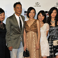 """HONG KONG - MARCH 22:  Hong Kong actor Simon Yam (2nd L), Chinese mainland actress Zhang Jing Chu (C) and cast members of """"Night and Fog"""" attend the Opening Ceremony of the 33rd Hong Kong International Film Festival, the Gala Premiere of the opening films """"Shinjuku Incident """" and """"Night and Fog"""", at the Hong Kong Convention and Exhibition Centre on March 22, 2009 in Hong Kong.  Photo by Victor Fraile / studioEAST"""
