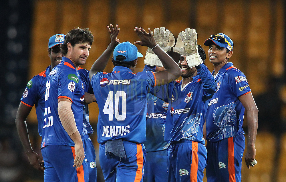 Nagenahira Nagas celebrate after running out Chinthaka Jayasinghe of Uva Next during match 21 of the Sri Lankan Premier League between Uva Next and Nagenahiras held at the Premadasa Stadium in Colombo, Sri Lanka on the 27th August 2012. .Photo by Shaun Roy/SPORTZPICS/SLPL