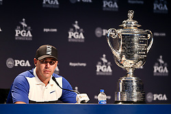 May 19, 2019 - Bethpage, New York, United States - Brooks Koepka speaks to the media with the Wanamaker trophy after winning the 101st PGA Championship at Bethpage Black. (Credit Image: © Debby Wong/ZUMA Wire)