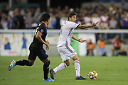 Philadelphia Union midfielder Alejandro Bedoya (11) motions to a teammate in front of San Jose Earthquakes midfielder Jackson Yueill (14) during an MLS soccer match won by Philadelphia 2-1, Wednesday, Sept. 25, 2019, in San Jose, Calif. (Peter Klein/Image of Sport)