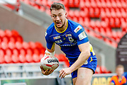 Doncaster RLFC winger Sam Doherty (5) makes his way toward the try line during the Challenge Cup 2018 match between Doncaster and Featherstone Rovers at the Keepmoat Stadium, Doncaster, England on 22 April 2018. Picture by Simon Davies.