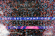 Confetti files through the air as one of the stadium displays lights up showing the New England Patriots as the 2017 season AFC Champions after the New England Patriots win the AFC Championship NFL playoff football game against the Jacksonville Jaguars Patriots, Sunday, Jan. 21, 2018 in Foxborough, Mass. The Patriots won the game 24-20. (©Paul Anthony Spinelli)