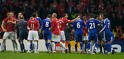 MOSCOW, RUSSIA - Wednesday, May 21, 2008: Manchester United  Chelsea players fight during the UEFA Champions League Final at the Luzhniki Stadium. (Photo by David Rawcliffe/Propaganda)