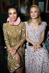 (right) Dianna Agron on the front row during the Erdem Autumn/Winter 2019 London Fashion Week show at The National Portrait Gallery, London.