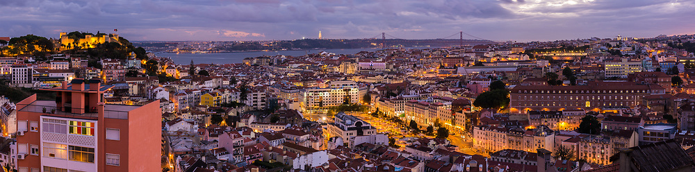 Panorama of Lisbon, Portugal from<br />