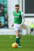 Brandon Barker (#20) of Hibernian on the ball during the Ladbrokes Scottish Premiership match between Hibernian and Ross County at Easter Road, Edinburgh, Scotland on 23 December 2017. Photo by Craig Doyle.