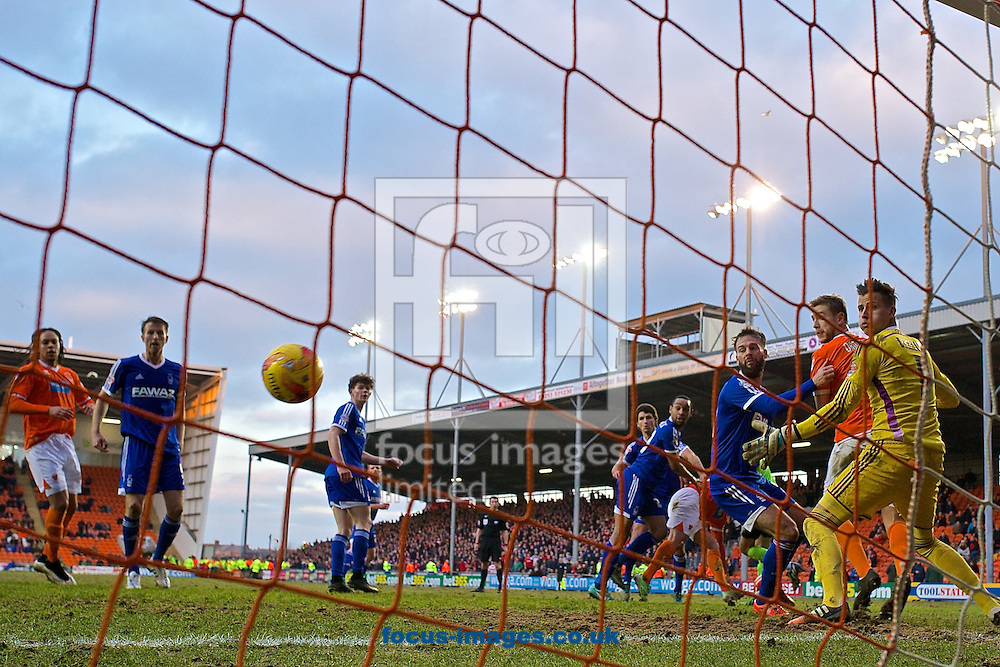 David Ferguson of Blackpool scores their fourth goal to make it Blackpool 4 Nottingham Forest 4 during the Sky Bet Championship match at Bloomfield Road, Blackpool<br /> Picture by Ian Wadkins/Focus Images Ltd +44 7877 568959<br /> 14/02/2015