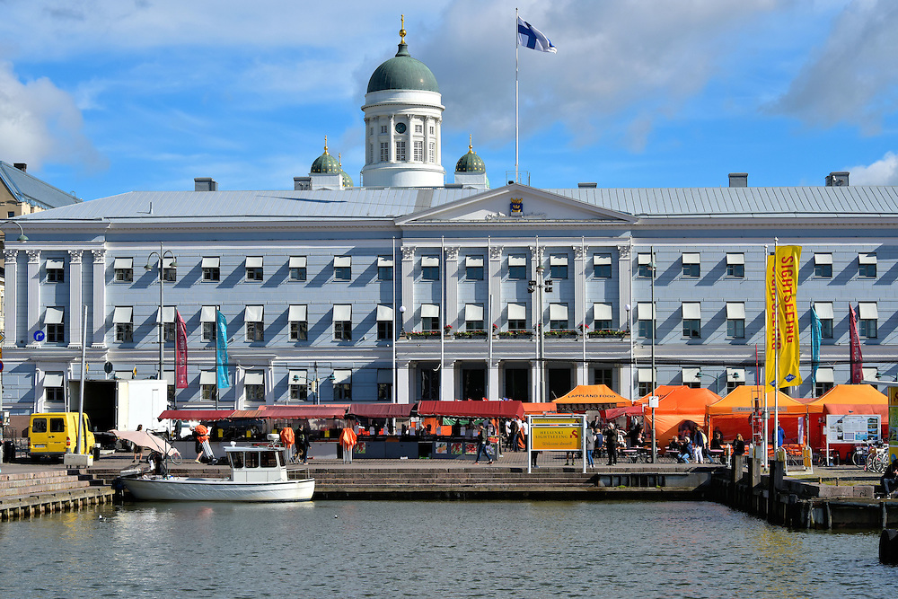 Market Square and City Hall in Helsinki, Finland <br />