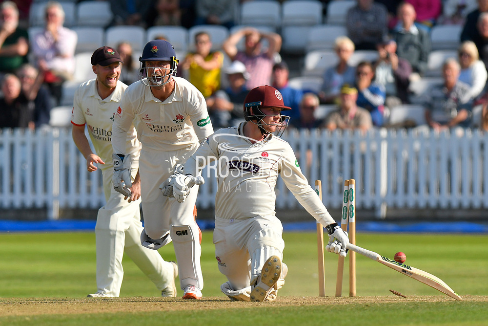 Wicket - Dom Bess of Somerset is stumped by Dane Vilas of Lancashire off the bowlng of Keshav Maharaj of Lancashire during the Specsavers County Champ Div 1 match between Somerset County Cricket Club and Lancashire County Cricket Club at the Cooper Associates County Ground, Taunton, United Kingdom on 5 September 2018.